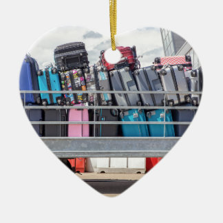 Trailer on airport filled with suitcases.JPG Ceramic Ornament