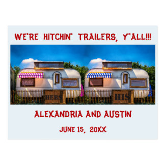 Trailer save the date postcard hitching love