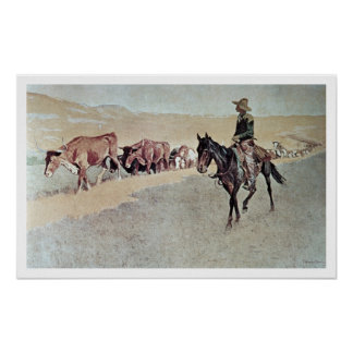 Trailing Texas Longhorns (oil on canvas) Poster
