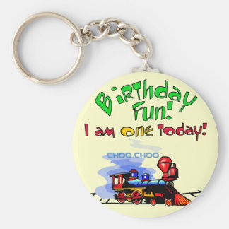 Train 1st Birthday Tshirts and Gifts Basic Round Button Key Ring