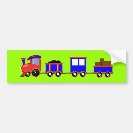 train-312107 train cartoon toy engine cars red blu bumper sticker