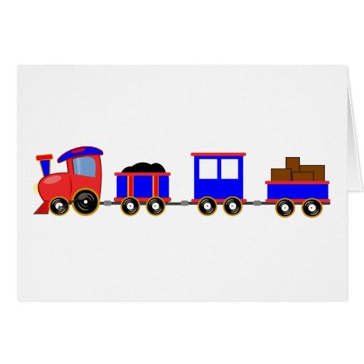 train-312107 train cartoon toy engine cars red blu greeting card