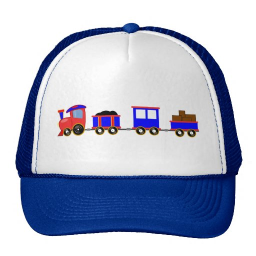 train-312107 train cartoon toy engine cars red blu mesh hats