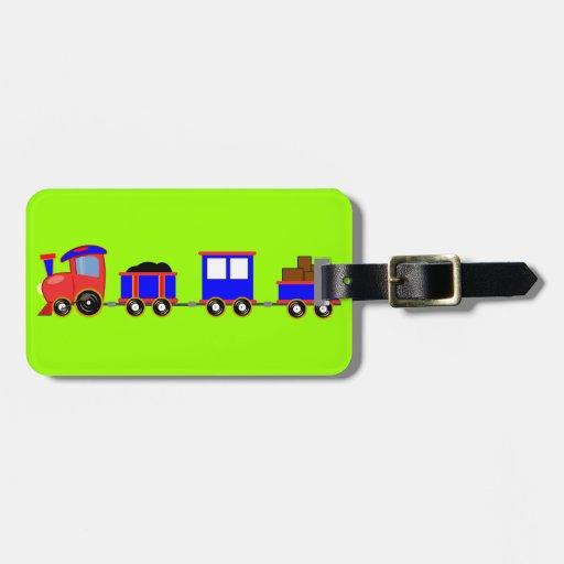train-312107 train cartoon toy engine cars red blu bag tag