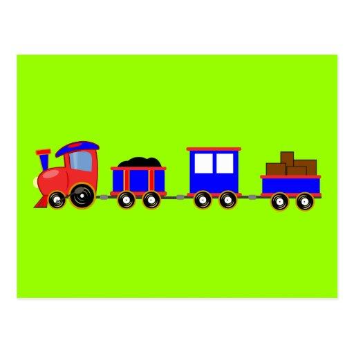 train-312107 train cartoon toy engine cars red blu post card