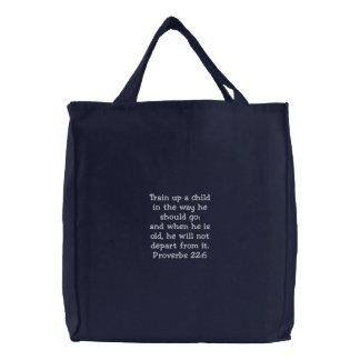 Train a Child Prov 22:6 Embroidered Tote Bag