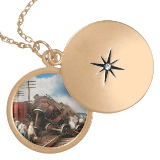 Train - Accident - Butting heads 1922 Locket Necklace