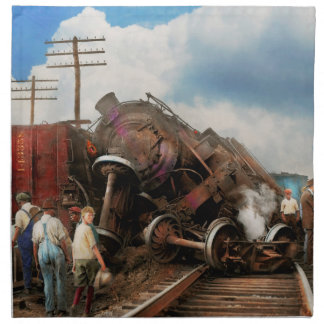 Train - Accident - Butting heads 1922 Napkin