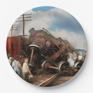Train - Accident - Butting heads 1922 Paper Plate
