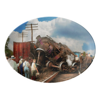 Train - Accident - Butting heads 1922 Porcelain Serving Platter