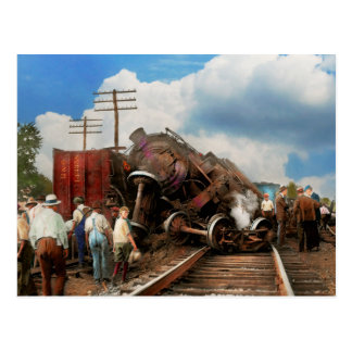 Train - Accident - Butting heads 1922 Postcard