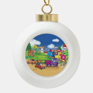 train and car ceramic ball christmas ornament