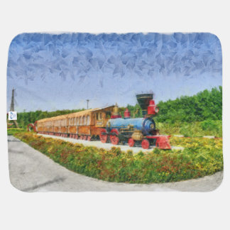 Train and Eiffel tower in Miracle Garden,Dubai Baby Blanket
