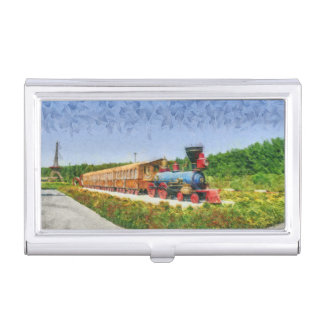 Train and Eiffel tower in Miracle Garden,Dubai Business Card Holder