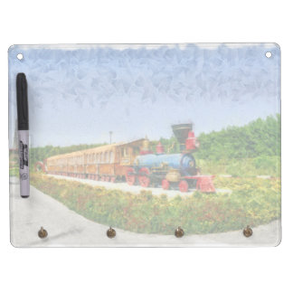 Train and Eiffel tower in Miracle Garden,Dubai Dry Erase Board With Key Ring Holder