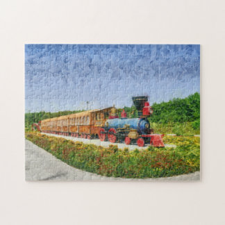 Train and Eiffel tower in Miracle Garden,Dubai Jigsaw Puzzle