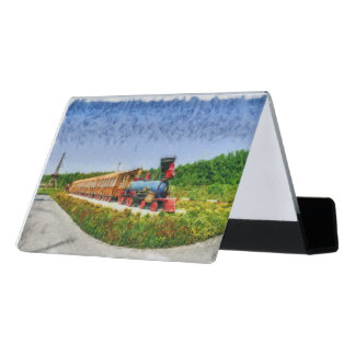 Train and Eiffel tower in Miracle Garden,Dubai pai Desk Business Card Holder
