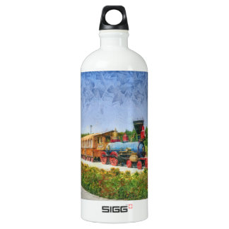 Train and Eiffel tower in Miracle Garden,Dubai pai Water Bottle