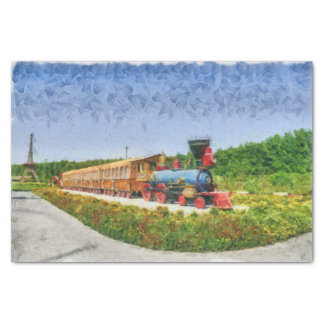 Train and Eiffel tower in Miracle Garden,Dubai Tissue Paper