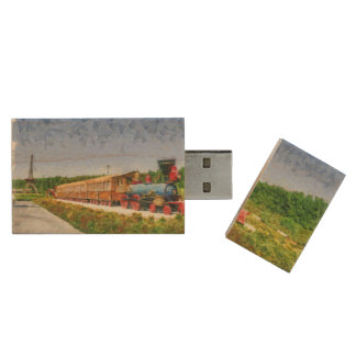 Train and Eiffel tower in Miracle Garden,Dubai Wood USB Flash Drive