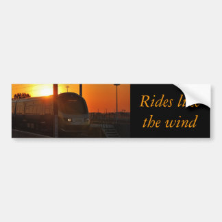 Train at sunset bumper sticker