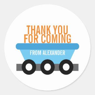 Train Birthday Party (Cargo Car) Round Sticker