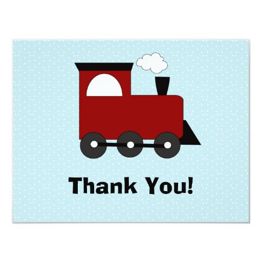 Train Birthday Party Invitation Thank You Card