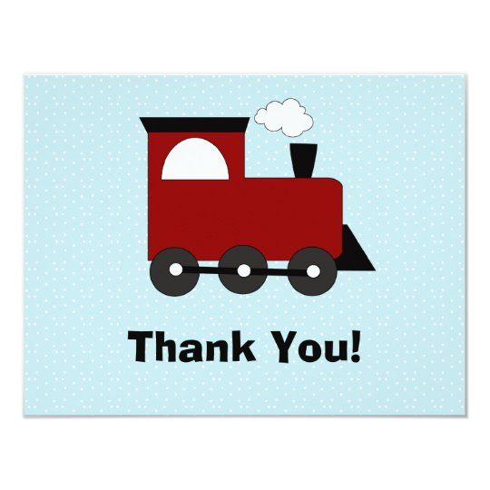 Train Birthday Party Invitation Thank You Card