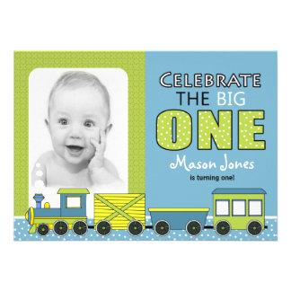 Train Boy First Birthday Party Custom Announcements