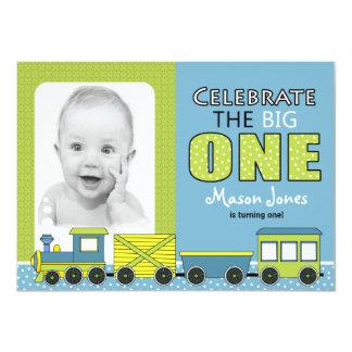 Train Boy First Birthday Party 4.5x6.25 Paper Invitation Card