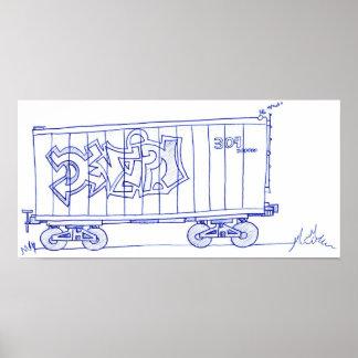 Train Car Drawing Print
