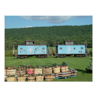 Train Cars in Autumn Poster