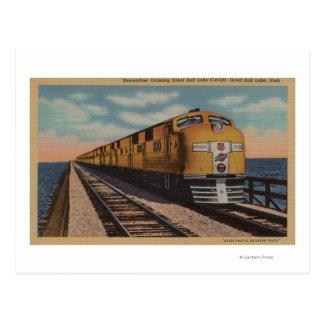 Train- Crossing Great Salt Lake, Ogden, Utah Postcard
