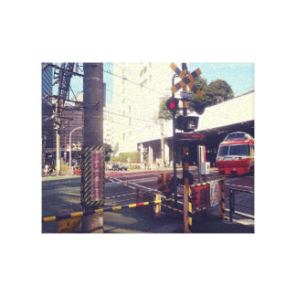 Train Crossing Japan Wrapped Canvas