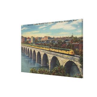 Train- Crossing Stone Arch Bridge Stretched Canvas Print