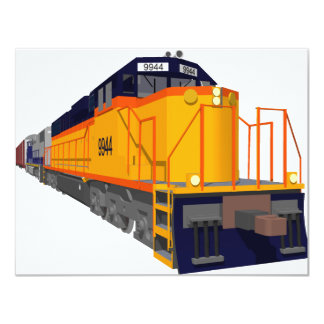 Train Engine: Classic Color Scheme: 11 Cm X 14 Cm Invitation Card