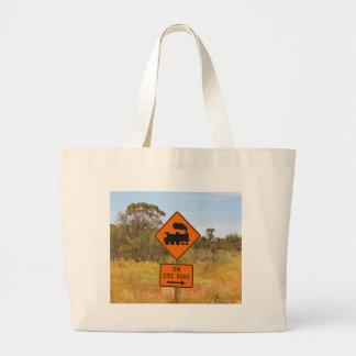 Train engine locomotive sign, Australia Large Tote Bag