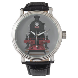 Train Engine Vintage Railroad Any Color Face Wristwatches