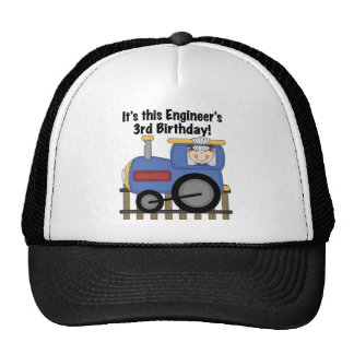 Train Engineer 3rd Birthday Tshirts and Gifts Cap