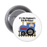 Train Engineer 5th Birthday tshirts and Gifts Pinback Buttons