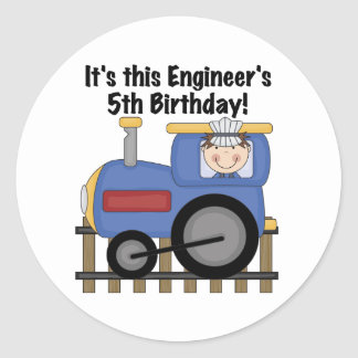 Train Engineer 5th Birthday tshirts and Gifts Classic Round Sticker