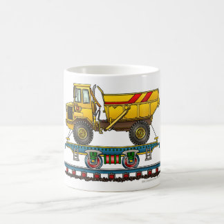 Train Flat Car With Dump Truck Railroad Classic White Coffee Mug