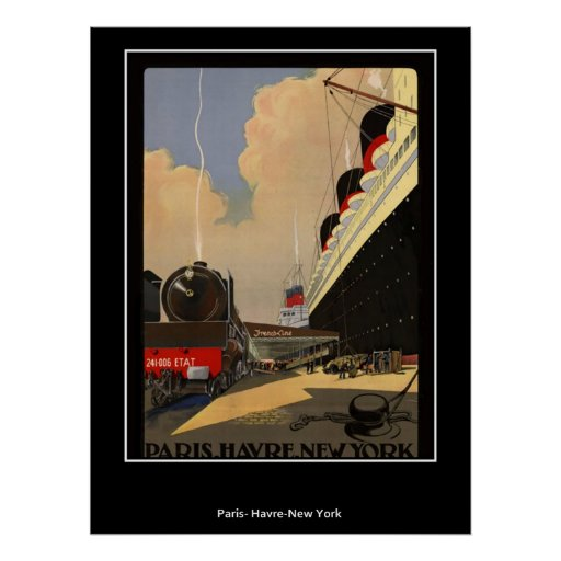 Train from Paris to Havre and New York Poster