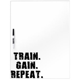 TRAIN, GAIN, REPEAT - Gym Workout Motivational Dry Erase Board