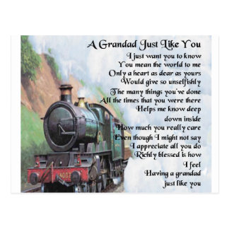 Train - Grandad Poem Postcard