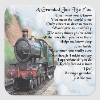 Train - Grandad Poem Square Sticker