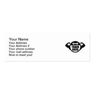 Train hard barbell muscles business card template