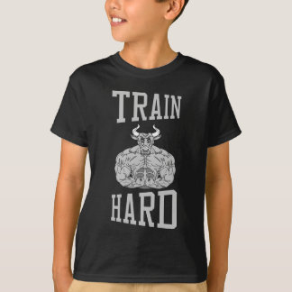Train Hard bodybuilding Gym fitness Dumbbells T-Shirt
