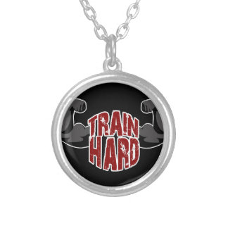 Train hard silver plated necklace