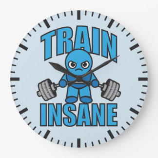 TRAIN INSANE Kawaii Weightlifter Deadlift Workout Large Clock